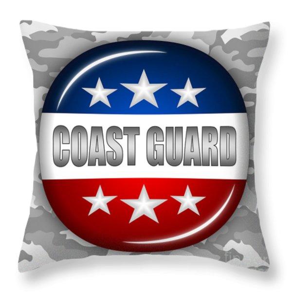 Nice Coast Guard Shield 2 Throw Pillow by Pamela Johnson
