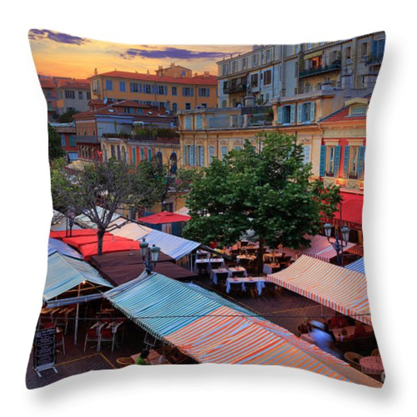 Nice Flower Market Throw Pillow by Inge Johnsson