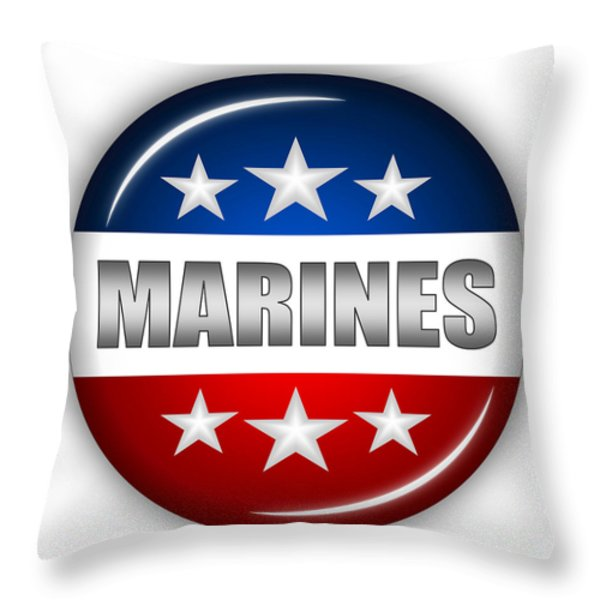 Nice Marines Shield Throw Pillow by Pamela Johnson