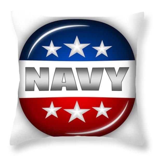 Nice Navy Shield Throw Pillow by Pamela Johnson