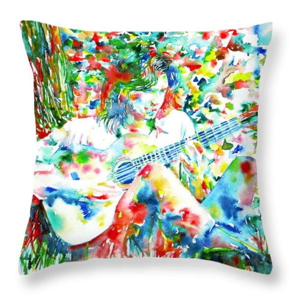 Nick Drake Playing The Guitar Under A Tree Watercolor Portrait Throw Pillow by Fabrizio Cassetta