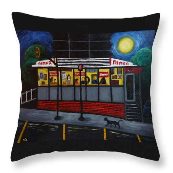 Night at an Arlington Diner Throw Pillow by Victoria Lakes