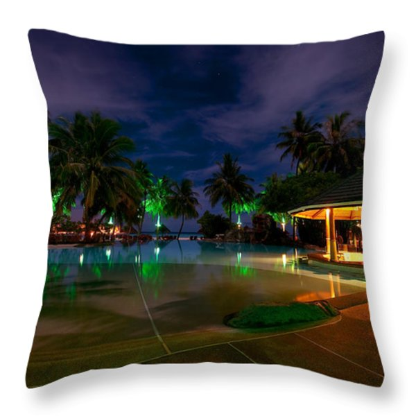Night at Tropical Resort 1 Throw Pillow by Jenny Rainbow
