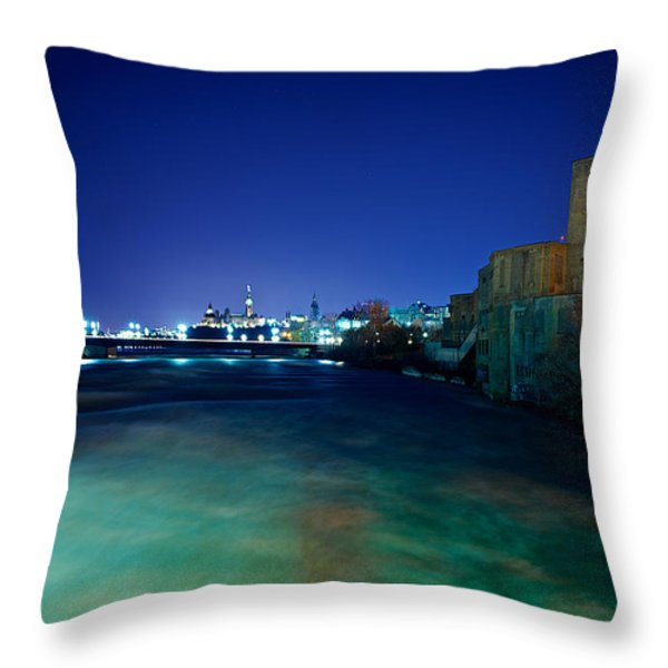 Night Cityscape Throw Pillow by Andre Faubert