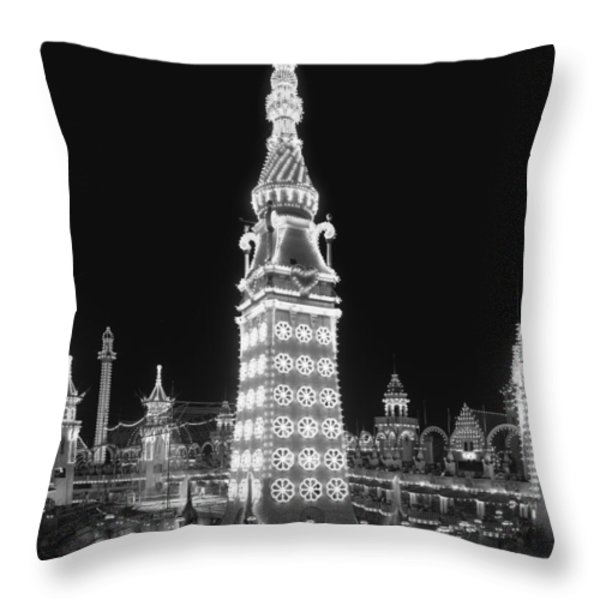 Night In Luna Park Throw Pillow by Nomad Art And  Design