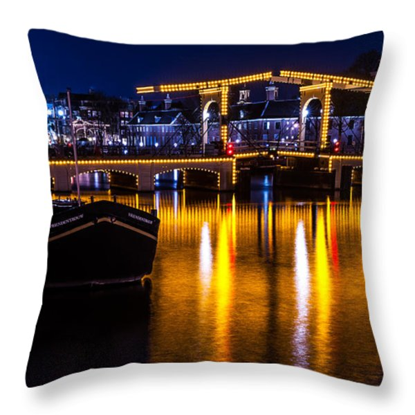 Night Lights On The Amsterdam Canals 3. Holland Throw Pillow by Jenny Rainbow