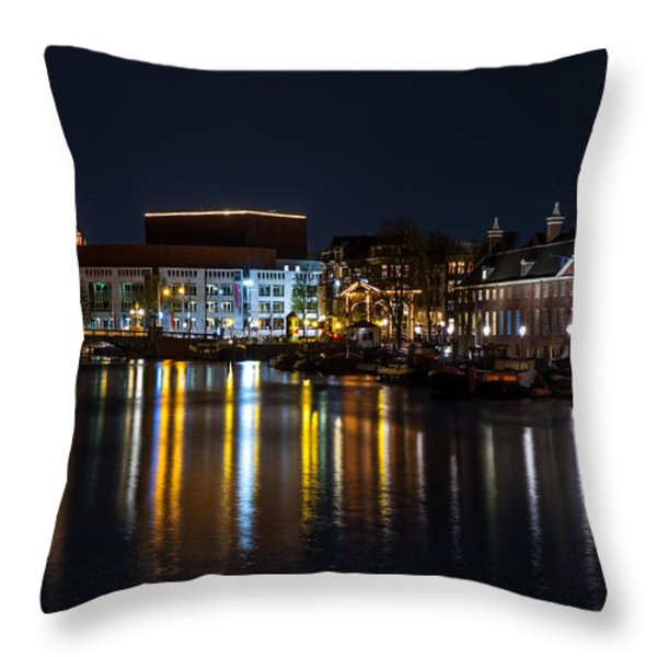 Night Lights On The Amsterdam Canals 6. Holland Throw Pillow by Jenny Rainbow