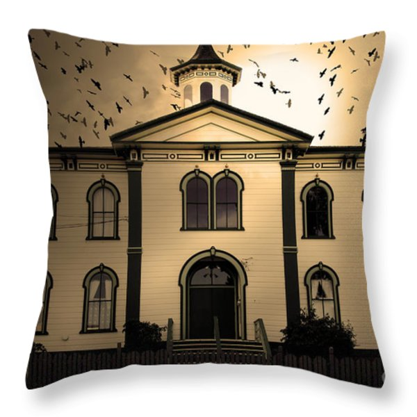 Night of The Birds . Sepia . 7D12487 Throw Pillow by Wingsdomain Art and Photography