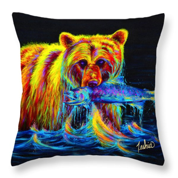 Night of the Grizzly Throw Pillow by Teshia Art
