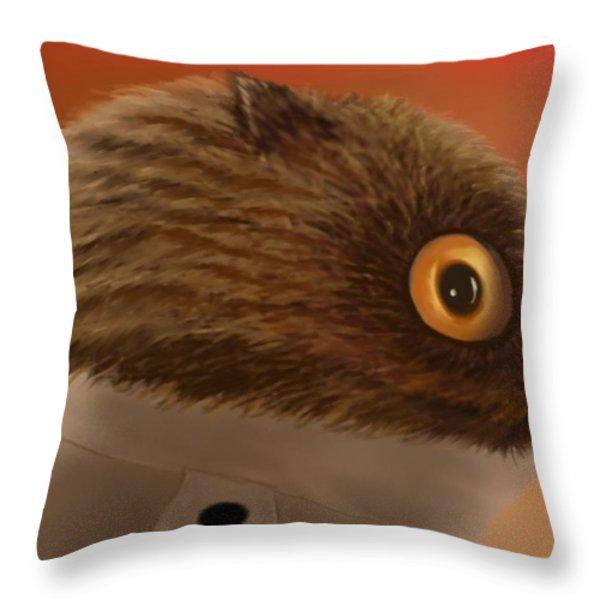 Night Owl Head Throw Pillow by Marlene Watson
