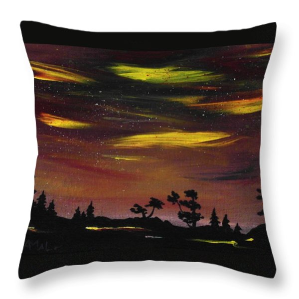 Night Scene Throw Pillow by Anastasiya Malakhova
