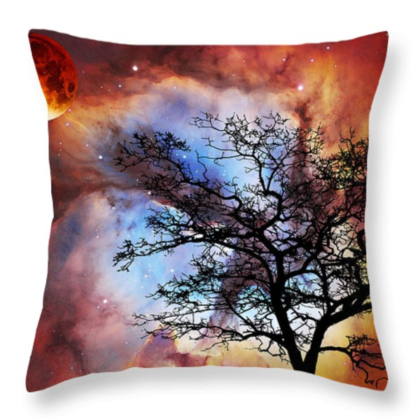 Night Sky Landscape Art By Sharon Cummings Throw Pillow by Sharon Cummings