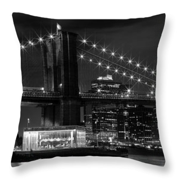 Night-skyline New York City Bw Throw Pillow by Melanie Viola