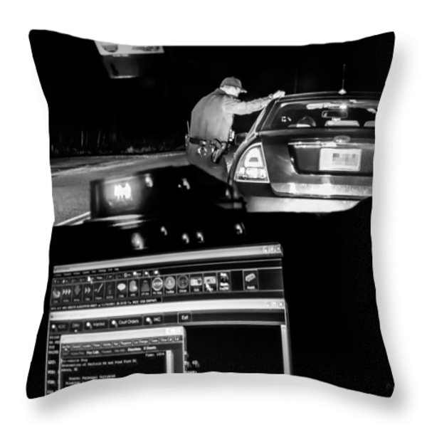 Night Traffic Stop Throw Pillow by Bob Orsillo