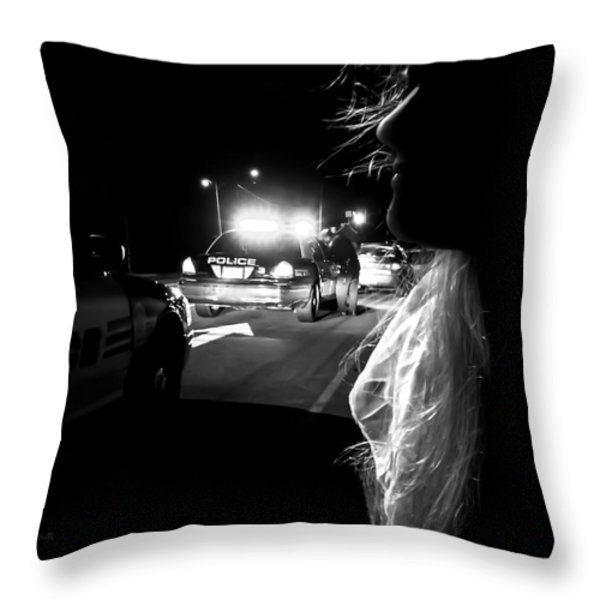 Night Traffic Stop Three Throw Pillow by Bob Orsillo