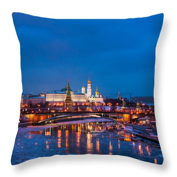 Night View Of Moscow Kremlin In Wintertime - Featured 3 Throw Pillow by Alexander Senin