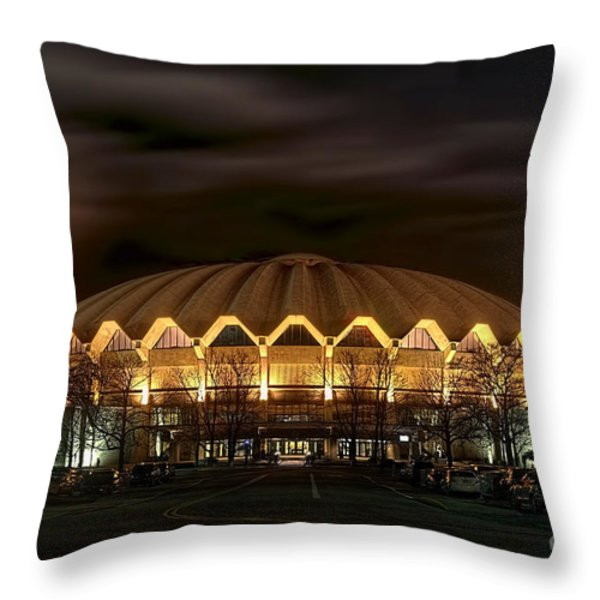 night WVU basketball Coliseum arena in Throw Pillow by Dan Friend
