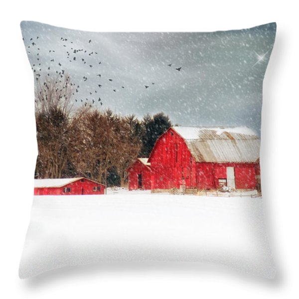 Night's Snow Dust Throw Pillow by Mary Timman