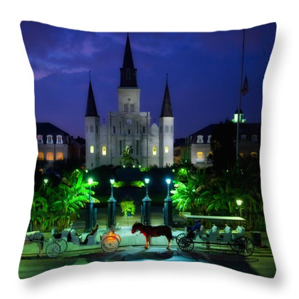 Nighttime Over Jackson Square In New Orleans Throw Pillow by Mountain Dreams