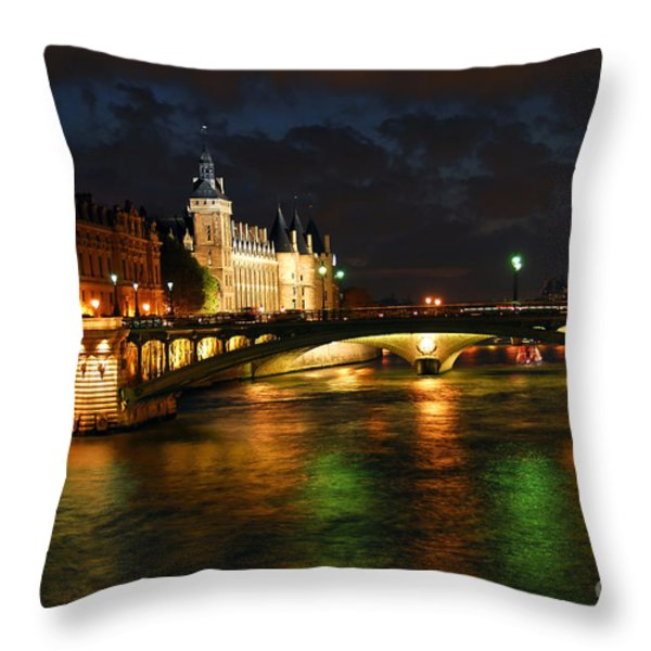 Nighttime Paris Throw Pillow by Elena Elisseeva
