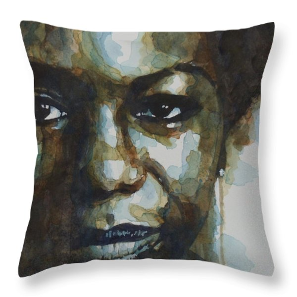Nina Simone Throw Pillow by Paul Lovering