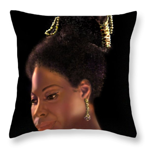 Nina Simone Throw Pillow by Reggie Duffie