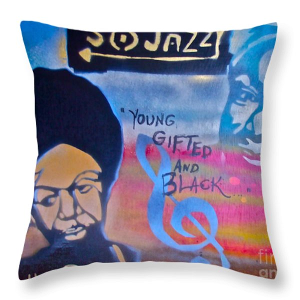 Nina Simone Throw Pillow by Tony B Conscious