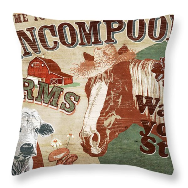 Nincompoop Farms Throw Pillow by JQ Licensing