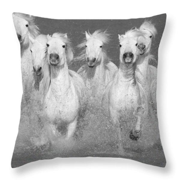 Nine White Horses Run Throw Pillow by Carol Walker