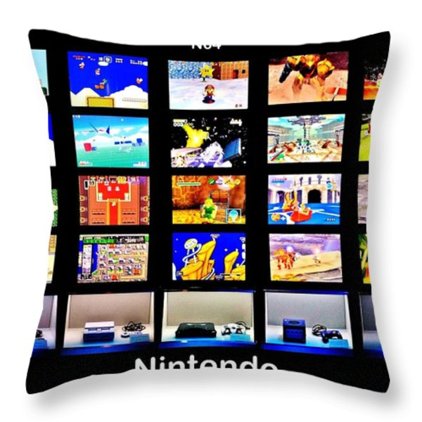 Nintendo History Throw Pillow by Benjamin Yeager