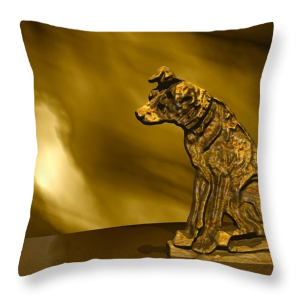 Nipper In Bronze Throw Pillow by John Pangia