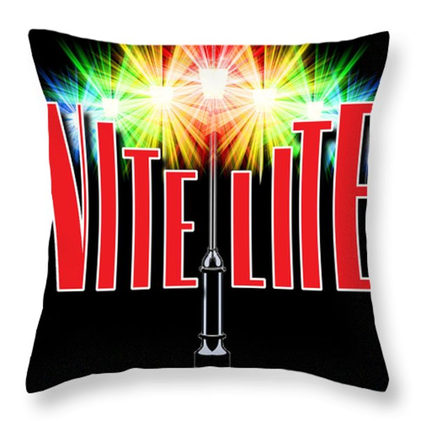 Nite Lite Book Cover Throw Pillow by Mike Nellums