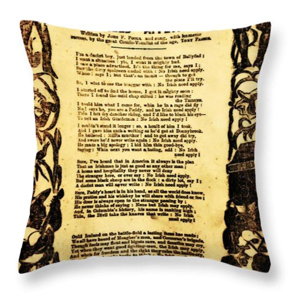 No Irish Need Apply Throw Pillow by Bill Cannon