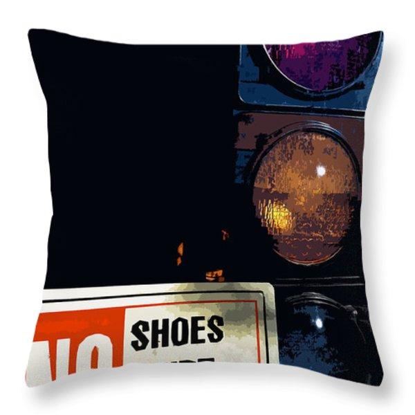 No Shoes No Shirt No Service Throw Pillow by Bill Owen
