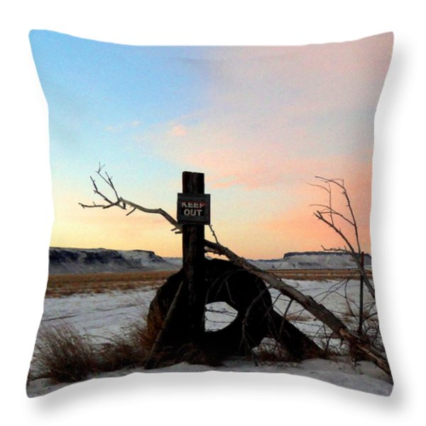 No Trespassing Throw Pillow by Desiree Paquette