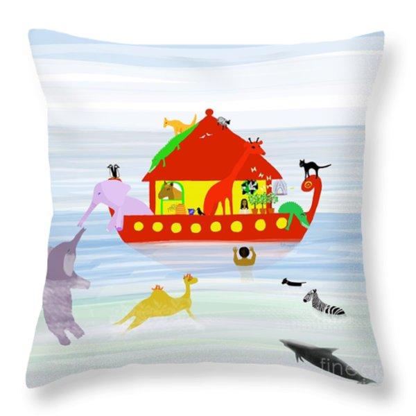 Noah's Ark Throw Pillow by Barbara Moignard