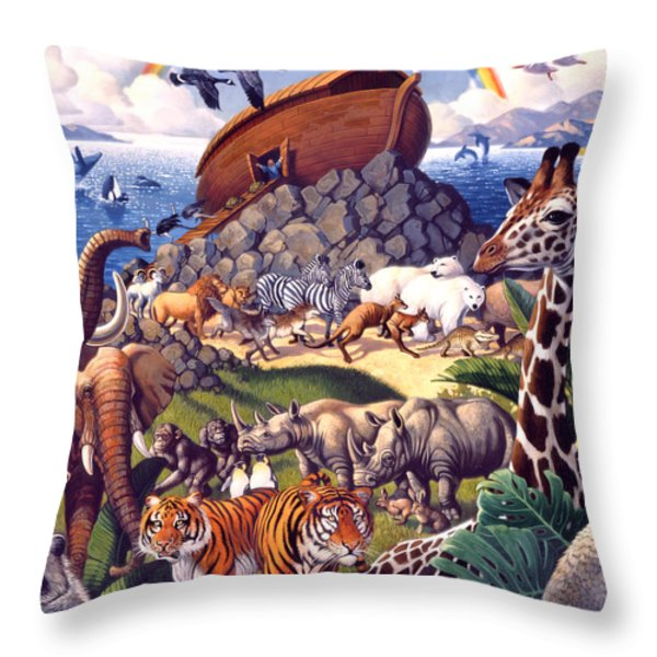 Noah's Ark Throw Pillow by Mia Tavonatti