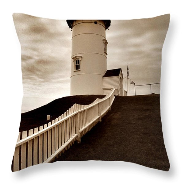 NOBSKA LIGHTHOUSE Throw Pillow by Skip Willits