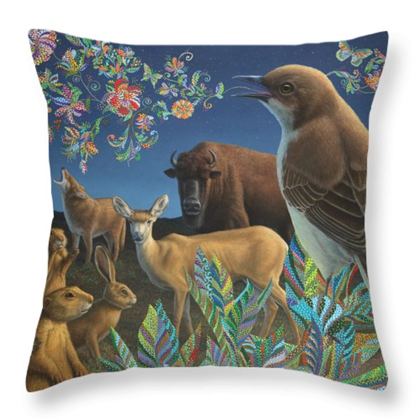 Nocturnal Cantata Throw Pillow by James W Johnson