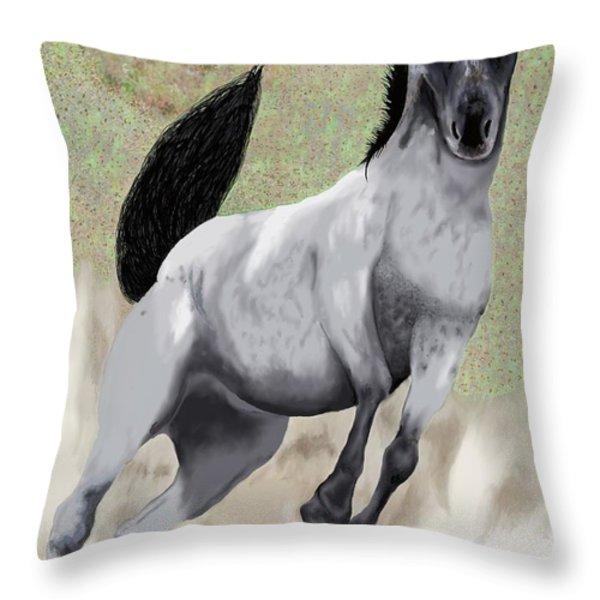 Nokota Bronco Throw Pillow by Jeanne Fischer