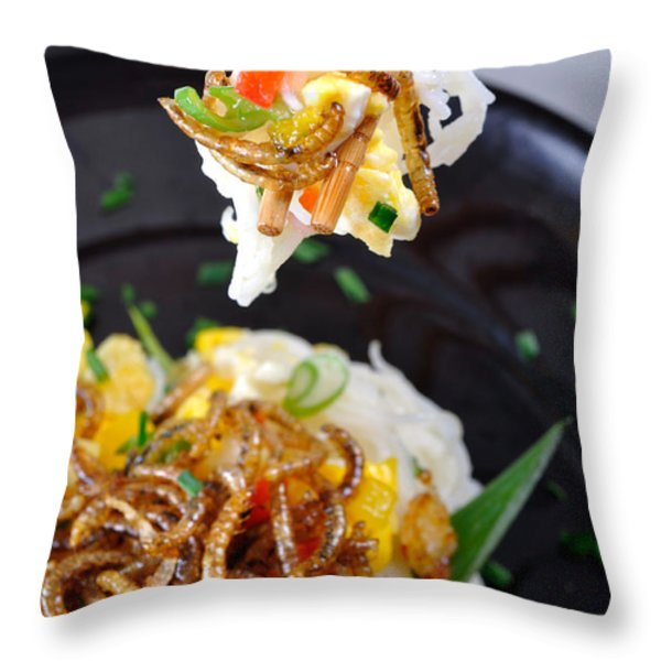 Noodles With Mealworms Throw Pillow by Emilio Scoti