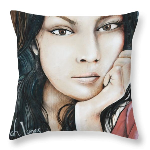 Norah Jones Mural II Throw Pillow by Lorri Crossno