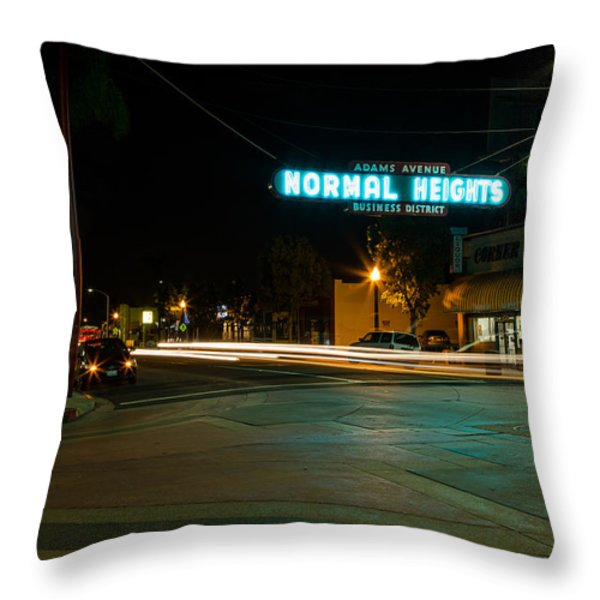 Normal Heights Neon Throw Pillow by John Daly
