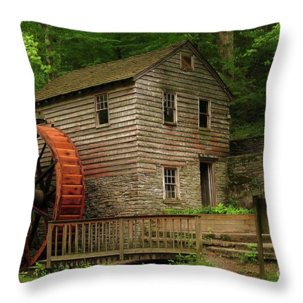 Norris Dam Grist Mill Throw Pillow by Douglas Stucky