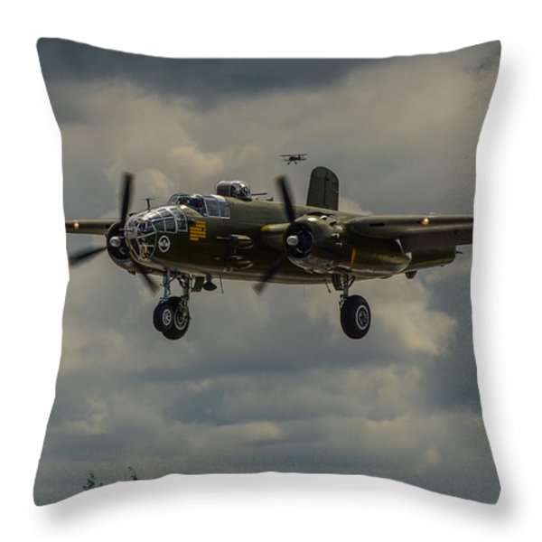 NORTH AMERICAN B-25J MITCHELL Throw Pillow by Puget  Exposure