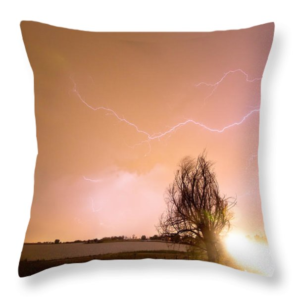 North Boulder County Colorado Lightning Strike Throw Pillow by James BO  Insogna