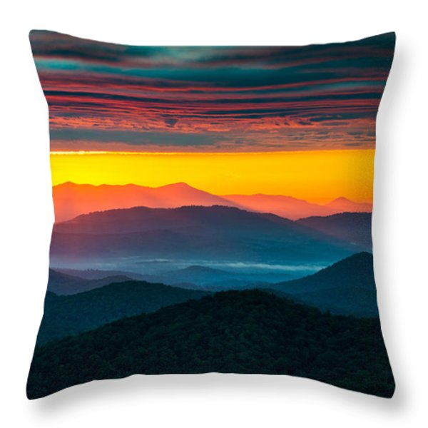 North Carolina Blue Ridge Parkway Morning Majesty Throw Pillow by Dave Allen