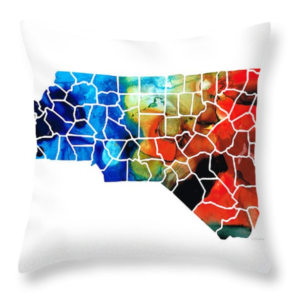 North Carolina - Colorful Wall Map by Sharon Cummings Throw Pillow by Sharon Cummings