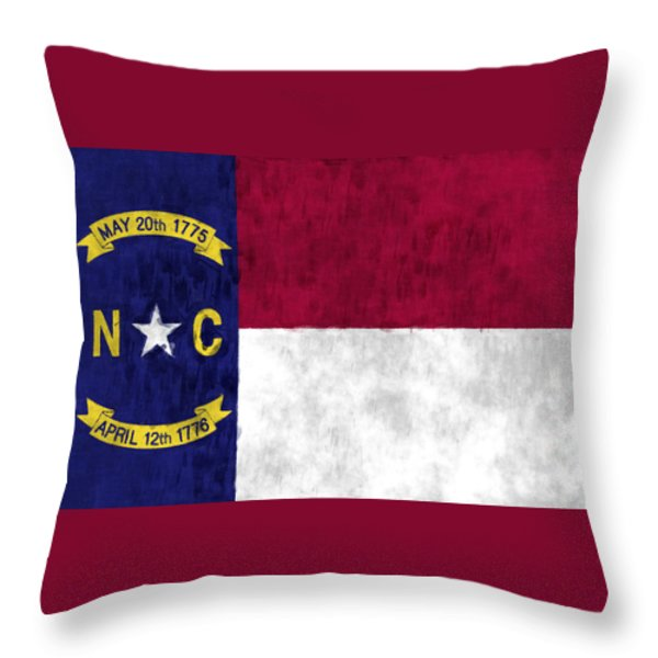 North Carolina Flag Throw Pillow by World Art Prints And Designs