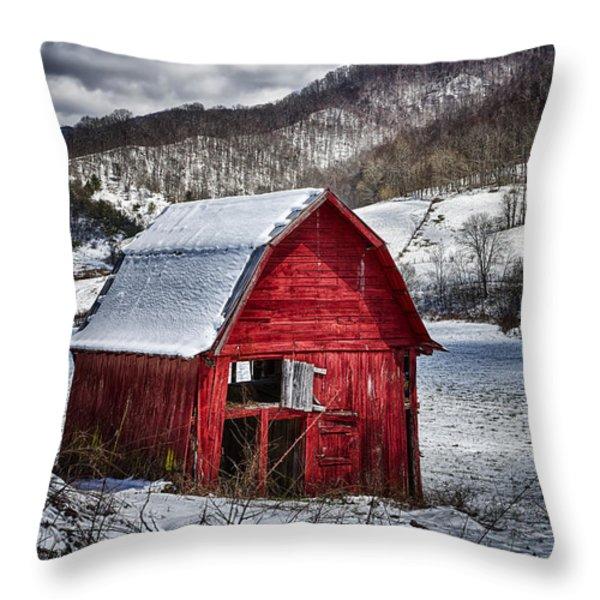 North Carolina Red Barn Throw Pillow by John Haldane
